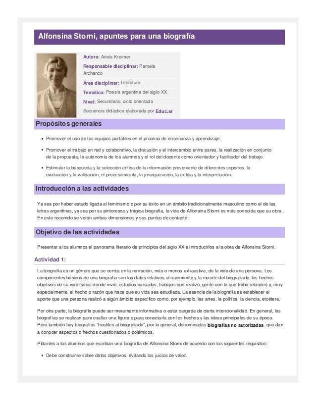 Alfonsina Storni, apuntes para una biografía                        Autora: Ariela Kreimer                        Responsa...