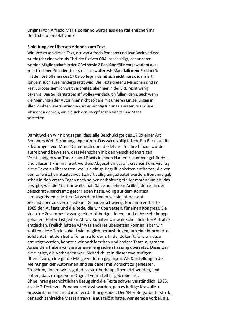 Original von Alfredo Maria Bonanno wurde aus den Italienischen insDeutsche übersetzt von ?Einleitung der ÜbersetzerInnen z...