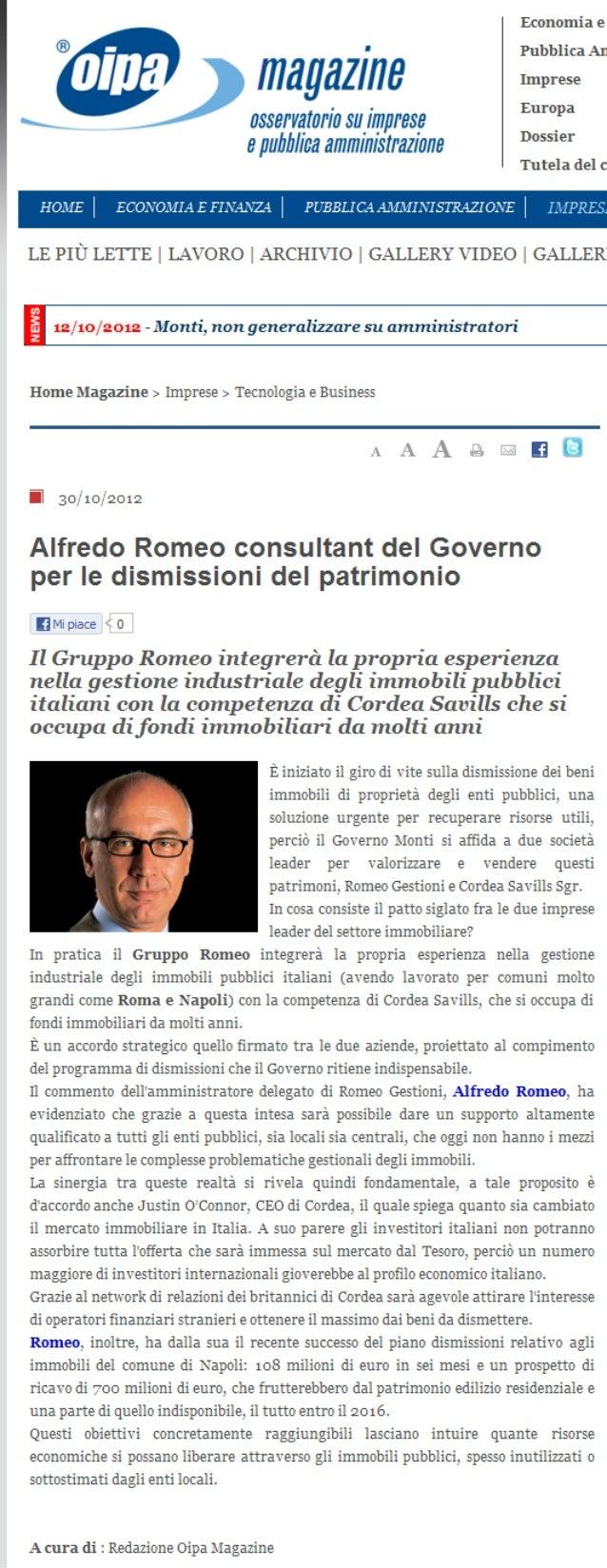 Alfredo Romeo - rassegna stampa Oipa