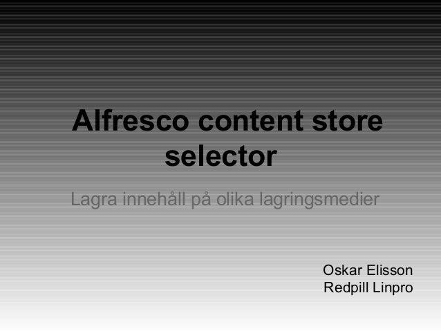 Alfresco content store selectors