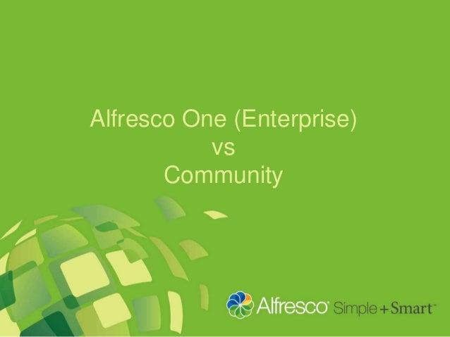 Alfresco One (Enterprise) vs Community