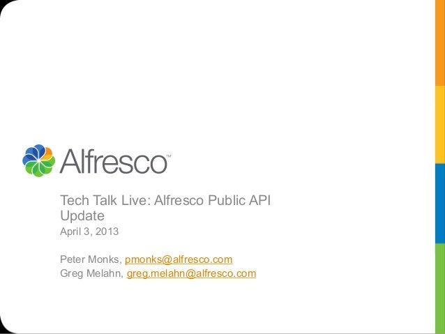 Alfresco tech talk live public api episode 64