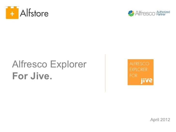 Alfresco Explorer   ALFRESCO                    EXPLORERFor Jive.           FOR                               April 2012