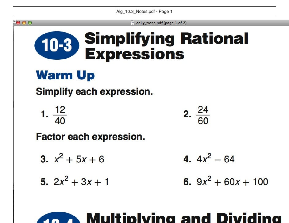 Alg 10.3 Notes Rational Expressions