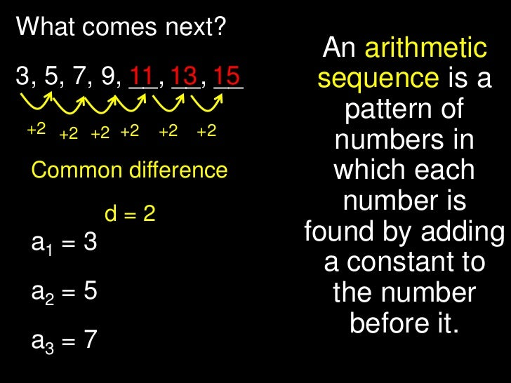 What comes next?                            An arithmetic3, 5, 7, 9, 11 13 15            __, __, __     sequence is a     ...