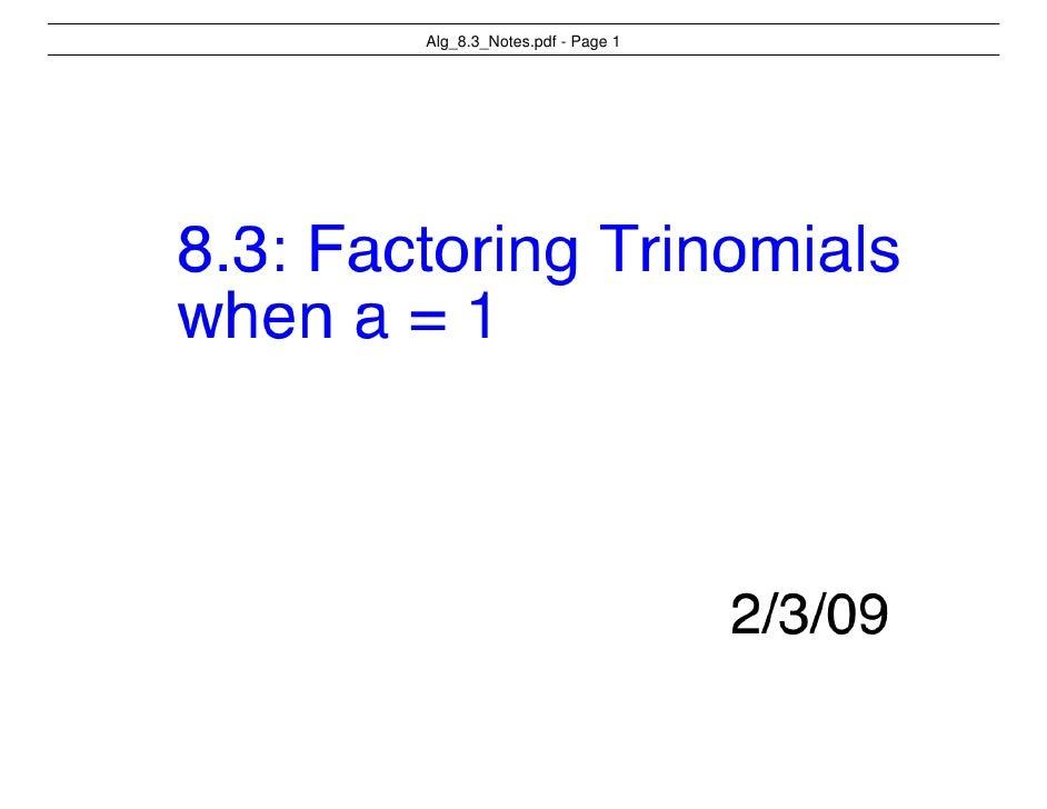Alg 8.3 Notes