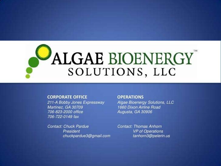 Algae Bioenergy Solutions, LLC