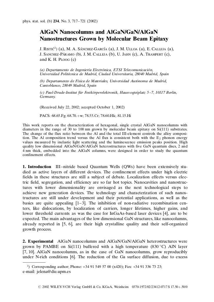 phys. stat. sol. (b) 234, No. 3, 717–721 (2002)            AlGaN Nanocolumns and AlGaN/GaN/AlGaN            Nanostructures...