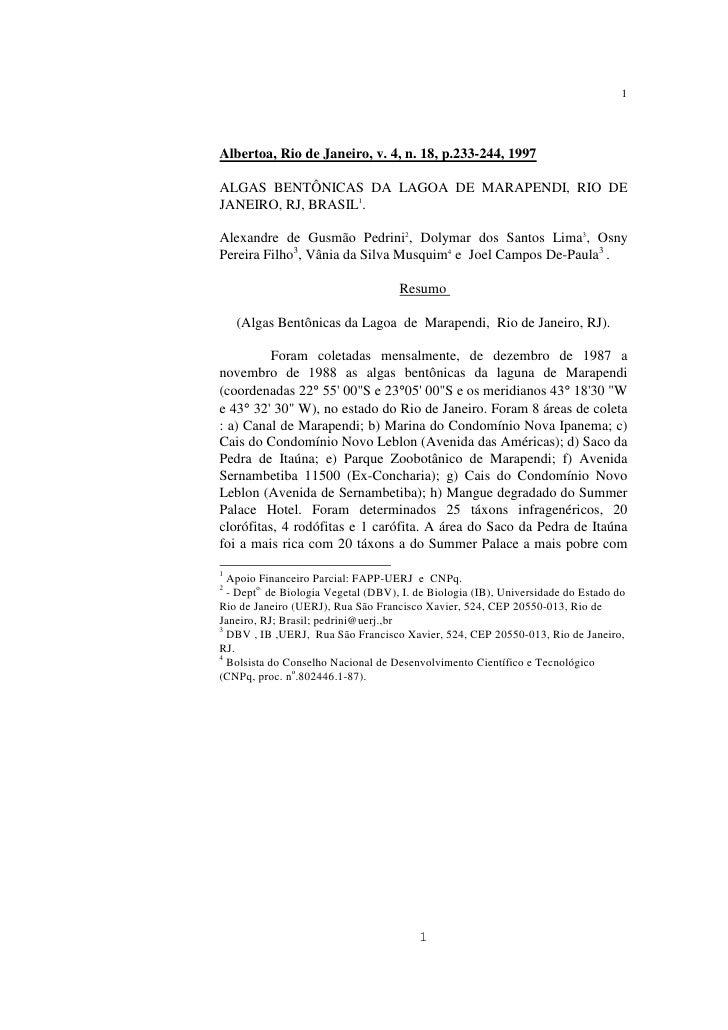 1     Albertoa, Rio de Janeiro, v. 4, n. 18, p.233-244, 1997  ALGAS BENTÔNICAS DA LAGOA DE MARAPENDI, RIO DE JANEIRO, RJ, ...