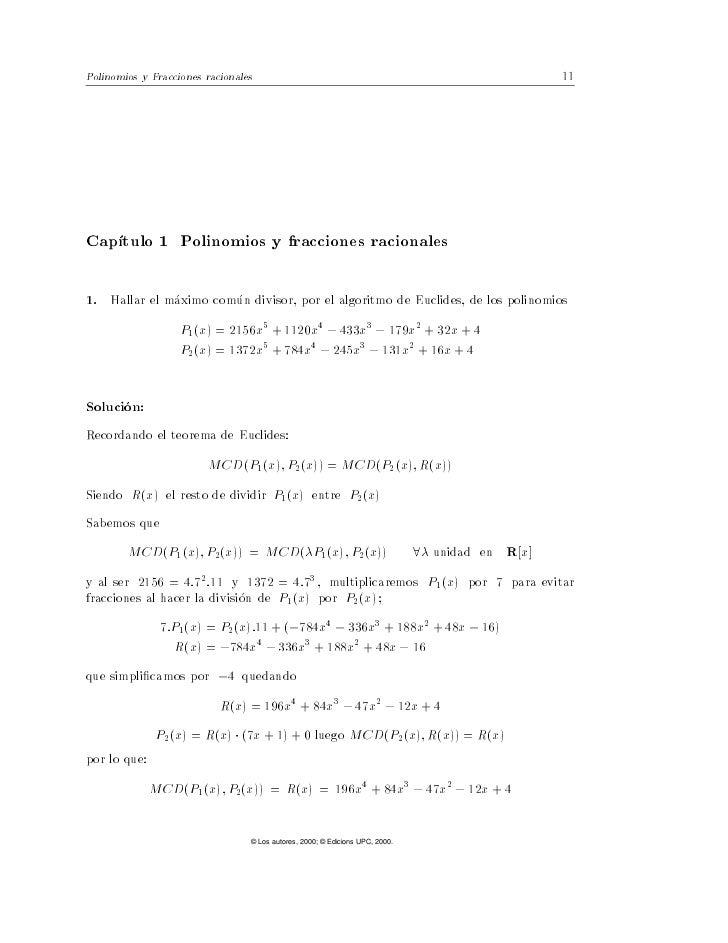 Polinomios y Fracciones racionales                                              11Cap tulo 1 Polinomios y fracciones racio...