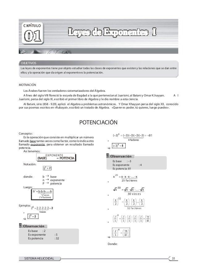 ÁlgebraCompendio de Ciencias I-A 31SISTEMA HELICOIDAL MOTIVACIÓN  Los Árabes fueron los verdaderos sistematizadores del Á...