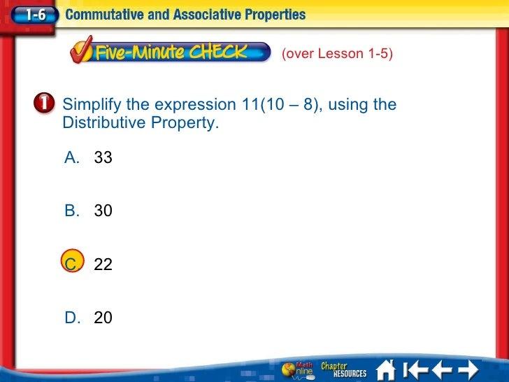 <ul><li>A </li></ul><ul><li>B </li></ul><ul><li>C </li></ul><ul><li>D </li></ul>5Min 6-1 A. 33 B. 30 C. 22 D. 20 Simplify ...