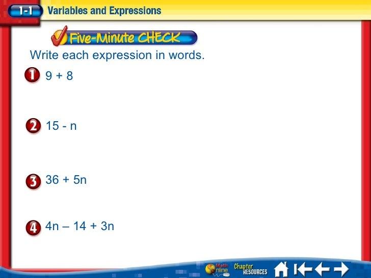 Algebra 1 Translating Verbal And Algebraic Expressions