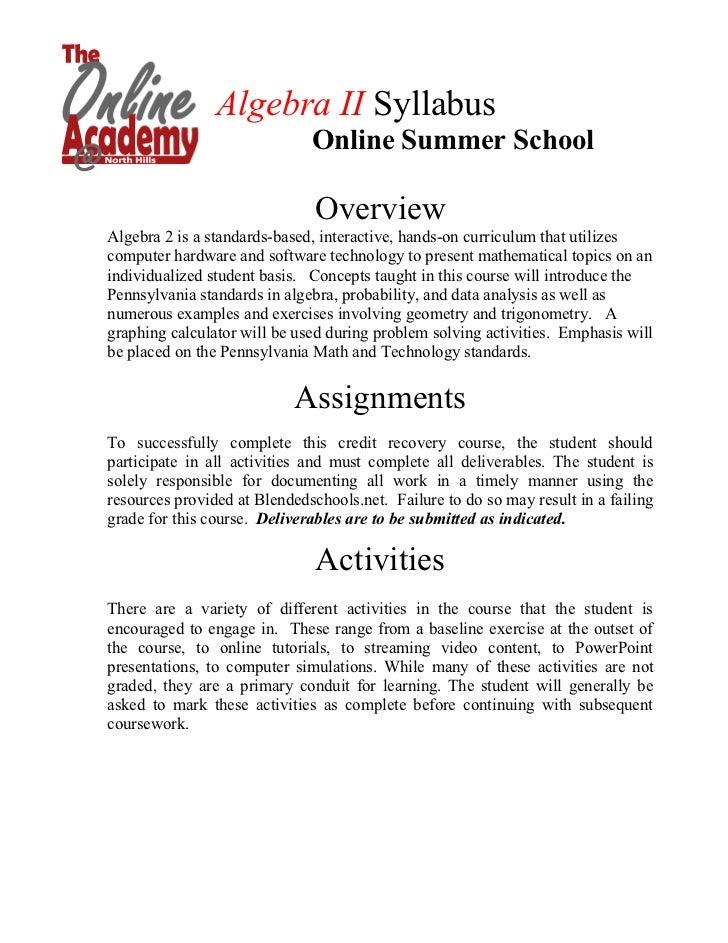 Algebra 2 Summer Syllabus