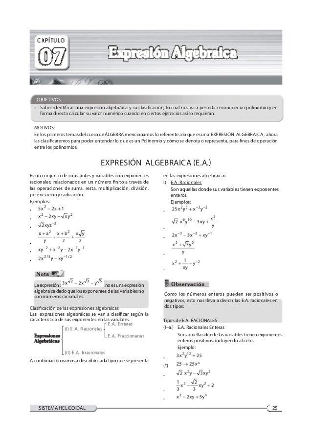 ÁlgebraCompendio de Ciencias III-A 25SISTEMA HELICOIDAL OBJETIVOS • Saber identificar una expresión algebráica y su clasi...