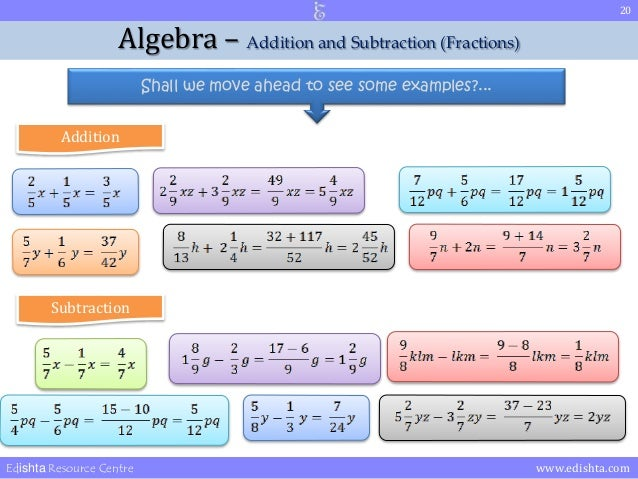 Algebra Rules Addition And Subtraction Corollary