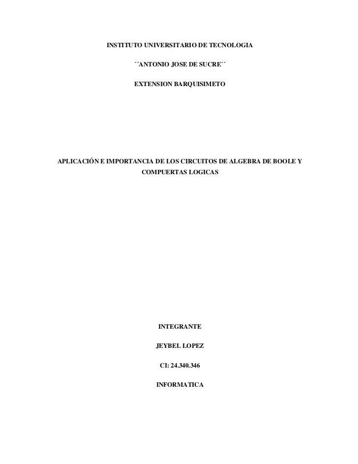 INSTITUTO UNIVERSITARIO DE TECNOLOGIA                   ´´ANTONIO JOSE DE SUCRE´´                   EXTENSION BARQUISIMETO...
