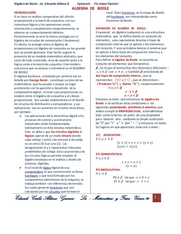 Algebra de Boole . Lic. Eduardo Aldana G          Systecom   ¡Tu mejor Opción!                                            ...