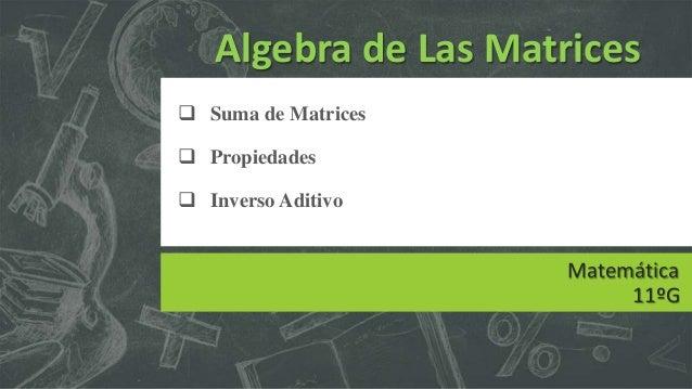 Algebra de Las Matrices  Suma de Matrices  Propiedades  Inverso Aditivo  Matemática 11ºG