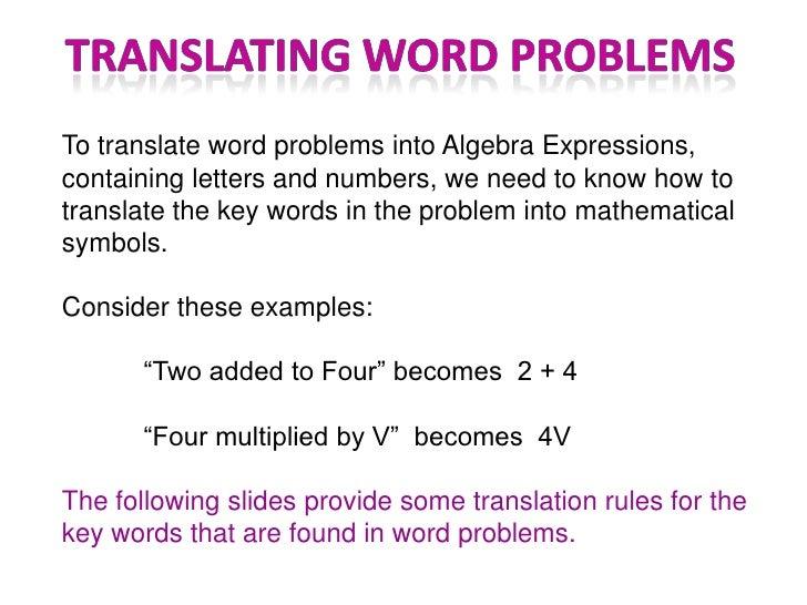 Turning Word Problems Into Algebraic Expressions Worksheet – Math Worksheets Algebraic Expressions