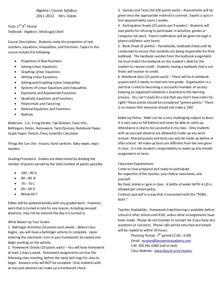 Algebra I Course Syllabus                        3. Quizzes and Tests (50-100 points each) – Assessments will be          ...