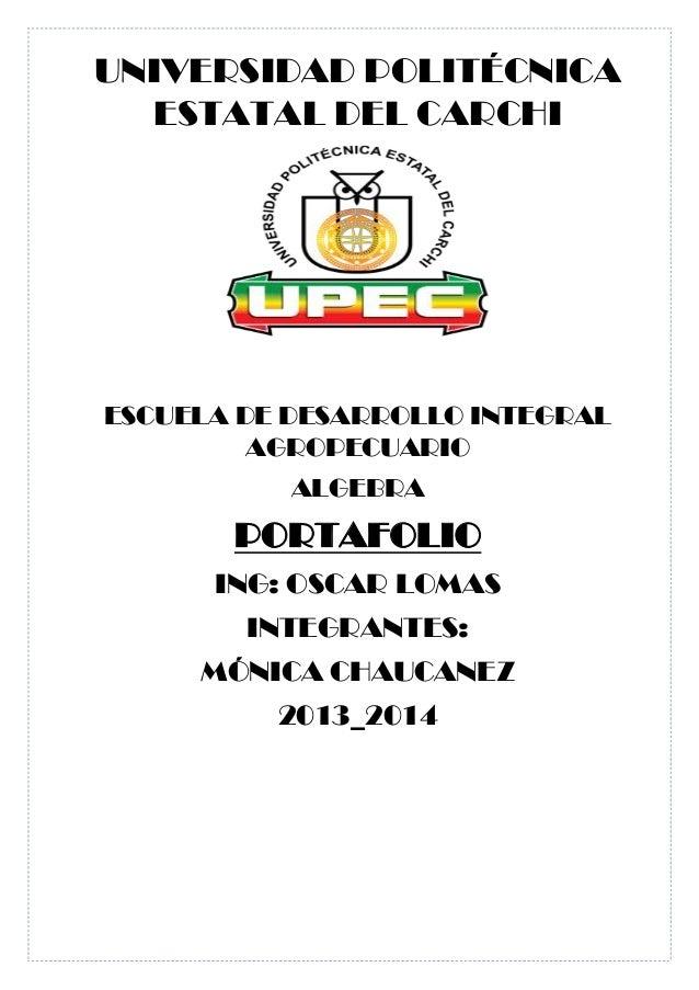 ESCUELA DE DESARROLLO INTEGRAL AGROPECUARIO (Álgebra portafolio )