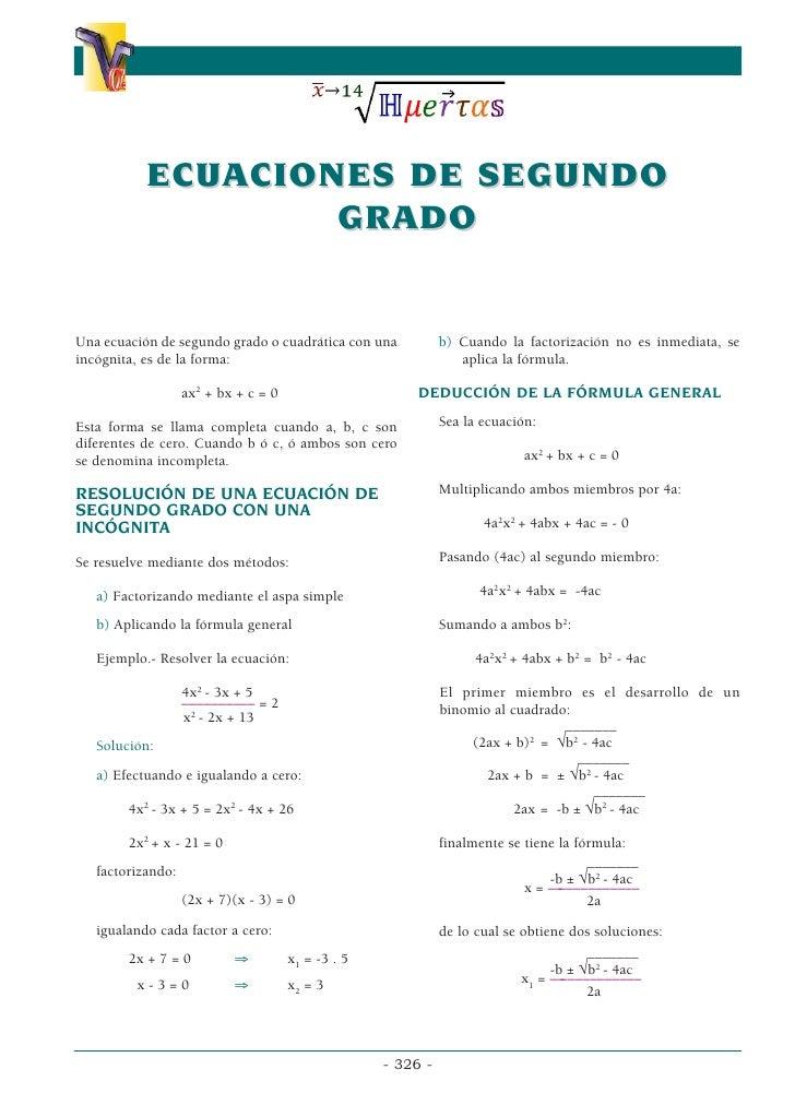 α                                                   α           ECUACIONES DE SEGUNDO                   GRADOUna ecuación ...