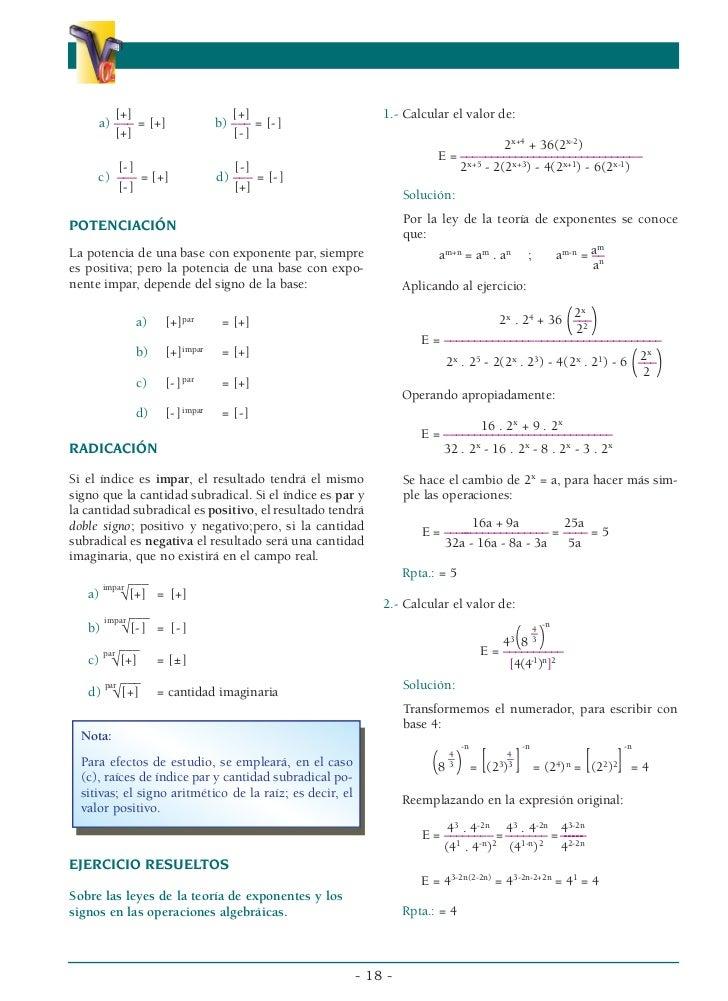 Leyes de exponentes (resueltos)