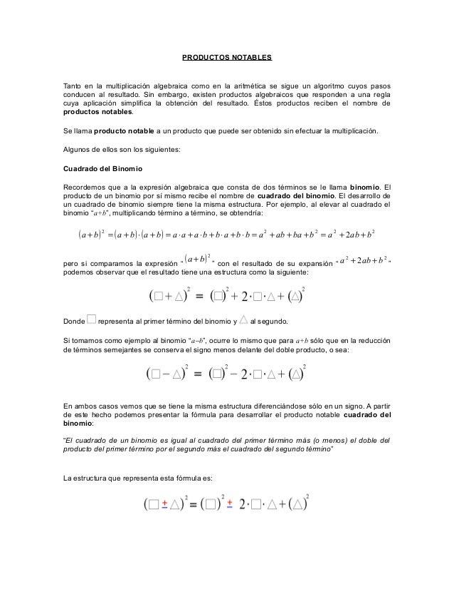 PRODUCTOS NOTABLES Tanto en la multiplicación algebraica como en la aritmética se sigue un algoritmo cuyos pasos conducen ...