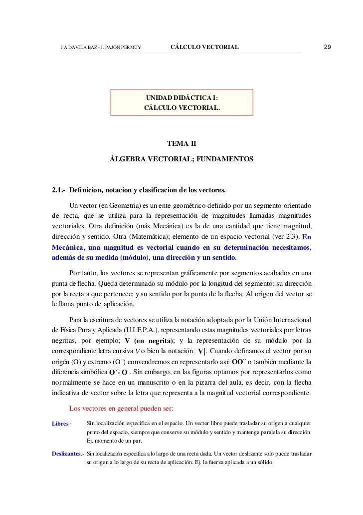 J.A DÁVILA BAZ - J. PAJÓN PERMUY                CÁLCULO VECTORIAL                                                29       ...