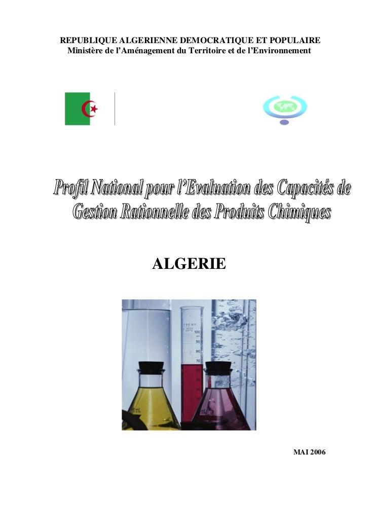 REPUBLIQUE ALGERIENNE DEMOCRATIQUE ET POPULAIRE Ministère de l'Aménagement du Territoire et de l'Environnement            ...