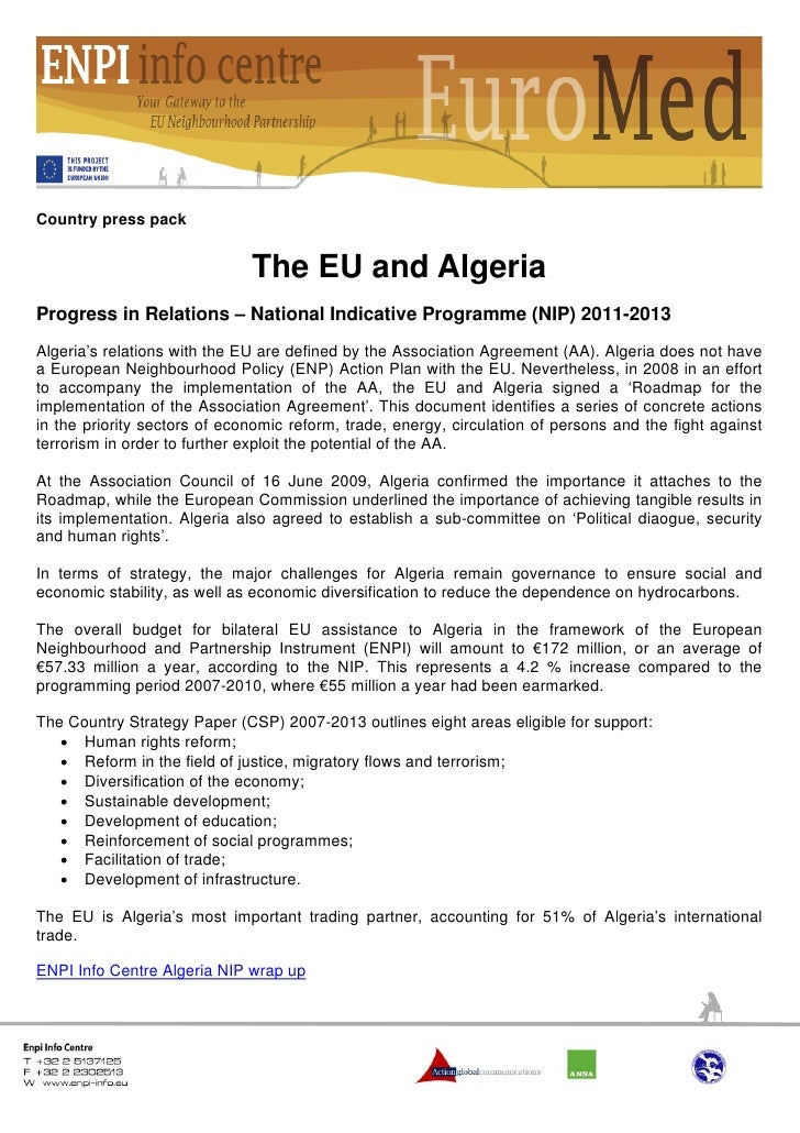 Country press pack                              The EU and AlgeriaProgress in Relations – National Indicative Programme (N...