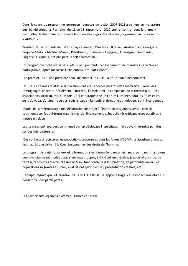 Dans le cadre du programme européen jeunesse en action 2007-2013 a eu lieu au monastèredes bénédictines a Rosheim du 18 au...