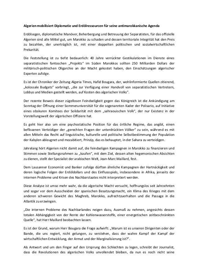 Algerien mobilisiert Diplomatie und Erdölressourcen für seine antimarokkanische Agenda Erdölsegen, diplomatische Manöver, ...