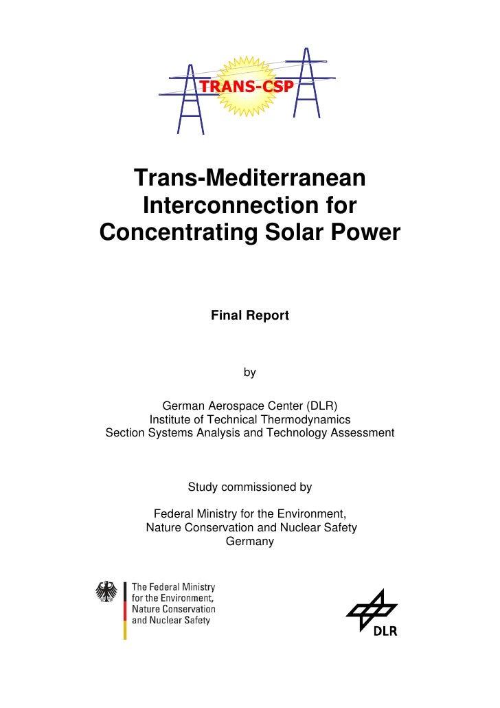 Algerian Trans-MED Concentrating solar power