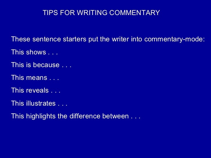 commentary writing tips