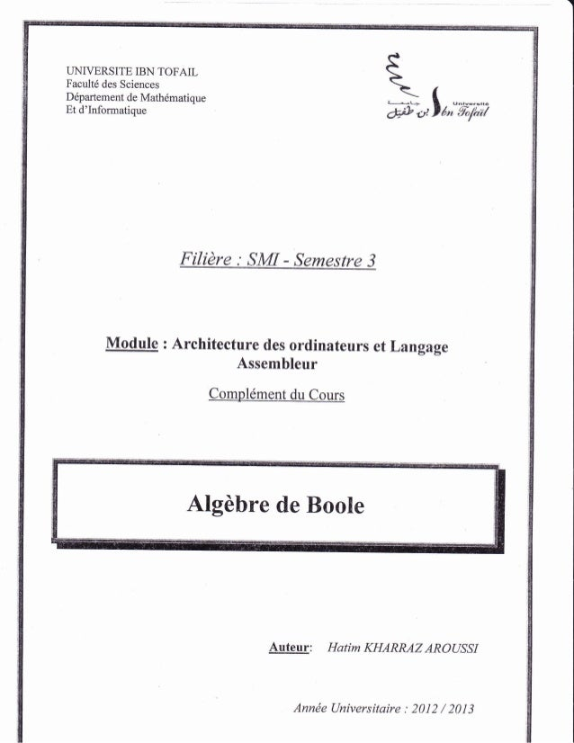 LINIVERSITE IBN TOFAIL Facult6 des Sciences Ddpartement de Math6matique Et d'Informatique Filidre : SMI - Semestre 3 Ff + ...