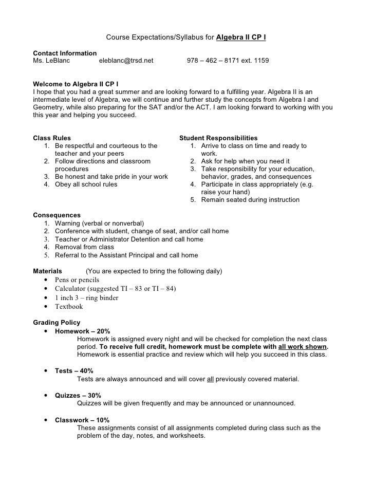 Course Expectations/Syllabus for Algebra II CP IContact InformationMs. LeBlanc         eleblanc@trsd.net                97...