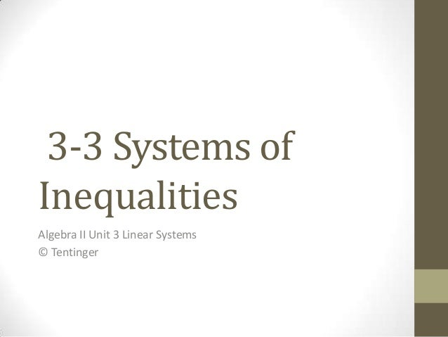 3-3 Systems ofInequalitiesAlgebra II Unit 3 Linear Systems© Tentinger