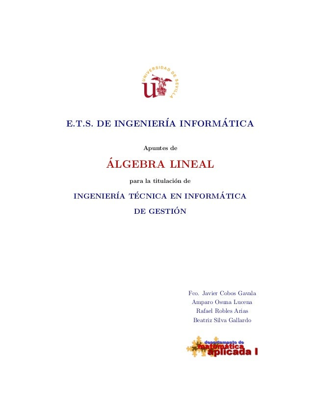 E.T.S. DE INGENIER´IA INFORM´ATICAApuntes de´ALGEBRA LINEALpara la titulaci´on deINGENIER´IA T´ECNICA EN INFORM´ATICADE GE...