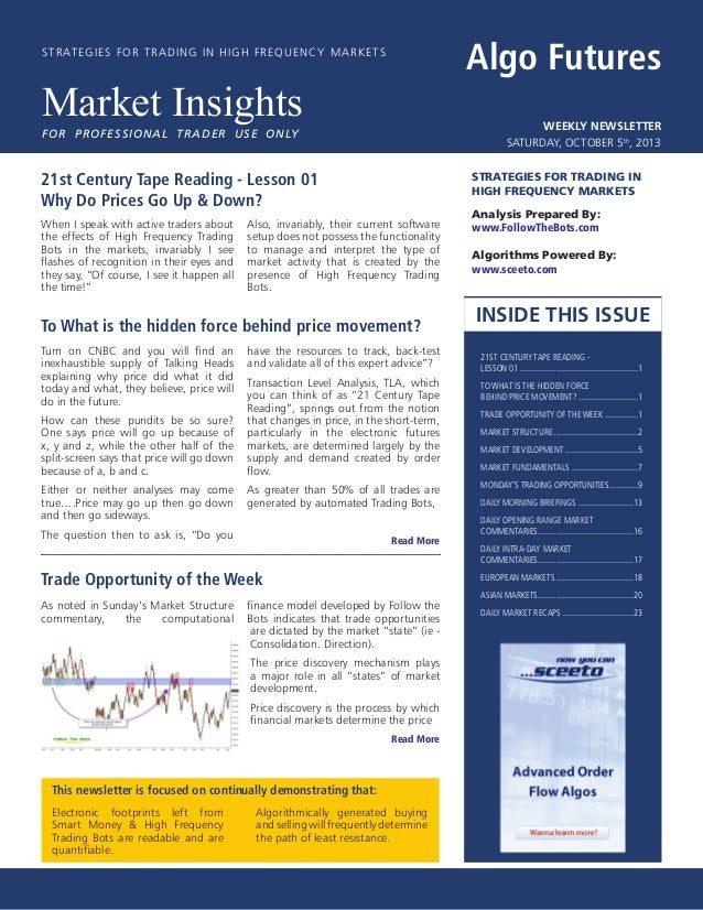 Algo Futures   Market Insights - Weekly Newsletter - Issue 01 - Saturday, October 5th, 2013
