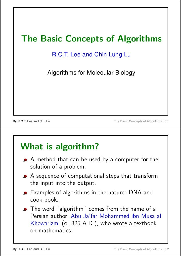 The Basic Concepts of Algorithms                            R.C.T. Lee and Chin Lung Lu                       Algorithms f...