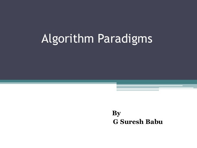 Algorithm paradigms
