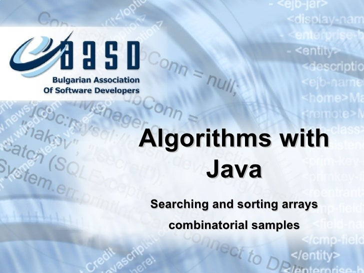 Searching and sorting arrays combinatorial samples Algorithms with Java