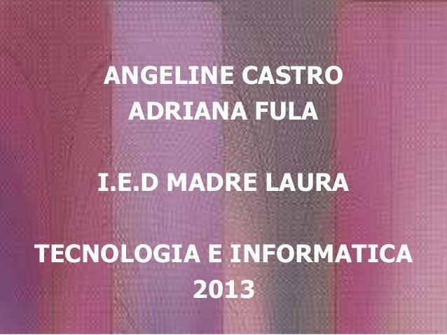 ANGELINE CASTRO     ADRIANA FULA    I.E.D MADRE LAURATECNOLOGIA E INFORMATICA          2013