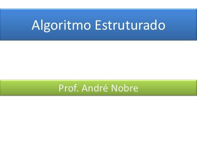 Algoritmo Estruturado  Prof. André Nobre