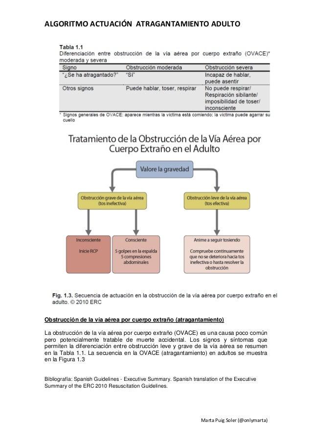 ALGORITMO ACTUACIÓN ATRAGANTAMIENTO ADULTOObstrucción de la vía aérea por cuerpo extraño (atragantamiento)La obstrucción d...