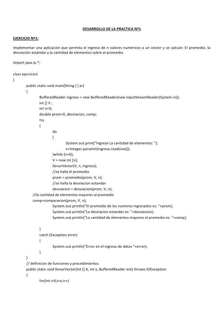 DESARROLLO DE LA PRACTICA Nº1<br />EJERCICIO Nº1:<br />Implementar una aplicación que permita el ingreso de n valores numé...