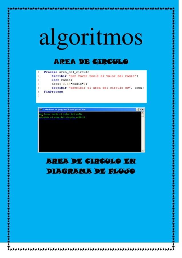algoritmos AREA DE CIRCULOAREA DE CIRCULO ENDIAGRAMA DE FLUJO