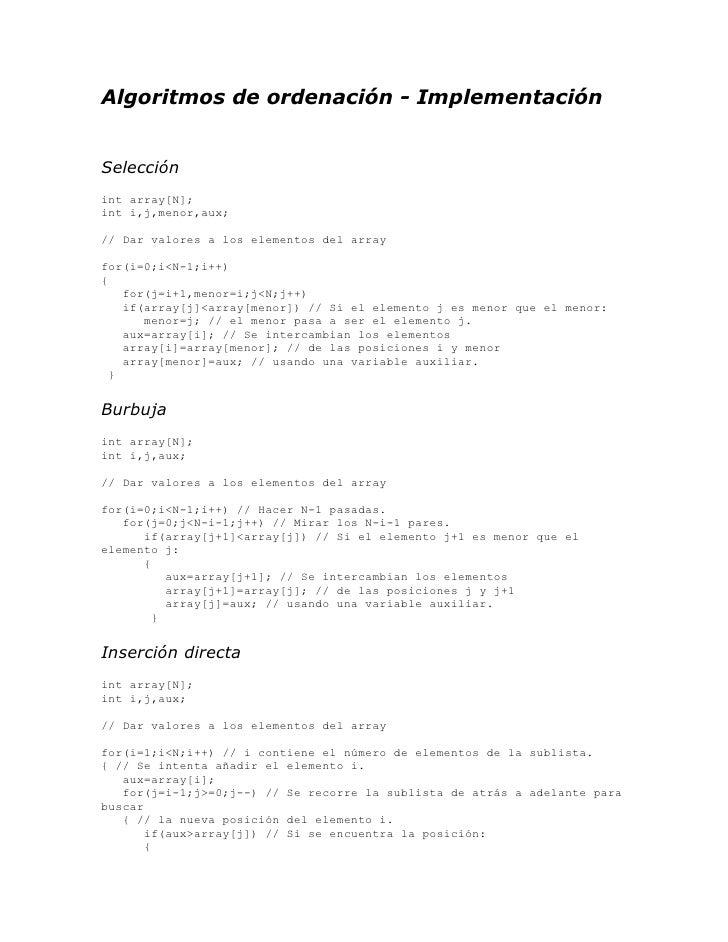 Algoritmos de ordenacion_implementacion
